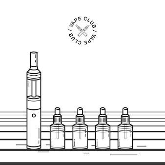 Dispositivo per fumare vape. illustrazione con sigaretta elettronica e succo di svapo.