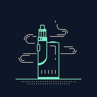 Kit dispositivo vaping box e mod. vape shop design isolato sul nero. concetto di fumo di vape.