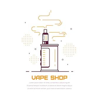 Kit dispositivo vaping box e mod. vape shop design isolato su bianco. concetto di fumo di vape.