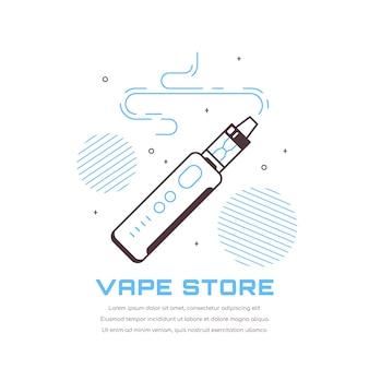Kit dispositivo penna svapo e mod. vape shop design isolato su bianco. concetto di fumo di vape.