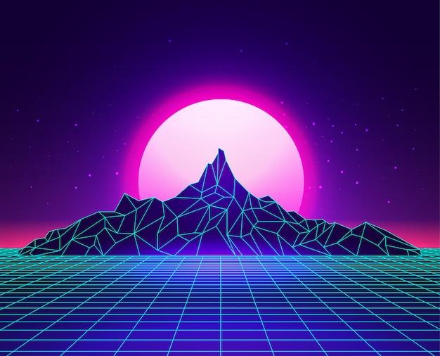 Le montagne dell'estratto di griglia del laser di vaporwave abbelliscono con il tramonto su fondo. concetto di synthwave.