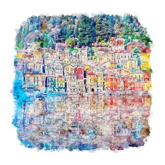 Illustrazione disegnata a mano di schizzo dell'acquerello di varenna lago di como italia