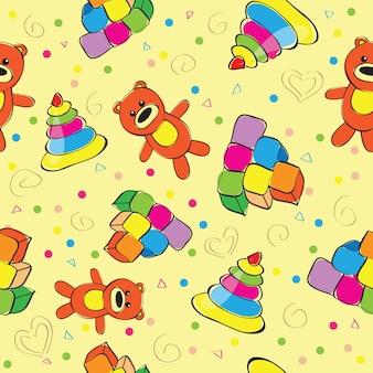 Varietà di giocattoli per bambini - illustrazione vettoriale senza soluzione di continuità