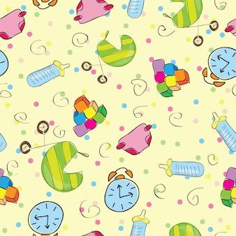 Una varietà di giocattoli per bambini - illustrazione vettoriale senza soluzione di continuità