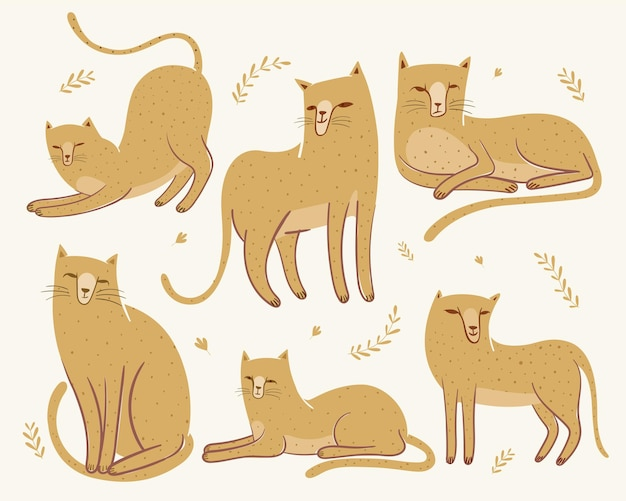 Varietà di simpatiche illustrazioni di ghepardi