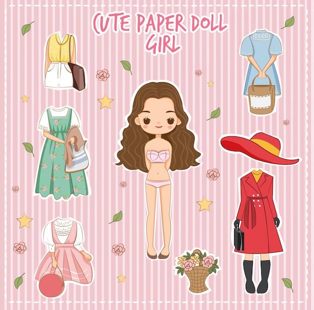 Varietà carino vestito per il vettore ragazza bambola di carta