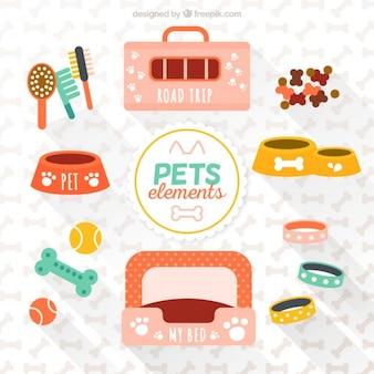 Elementi varietà di animali domestici Vettore Premium