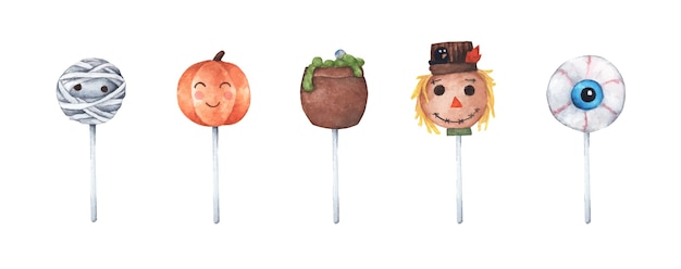 Varietà di cake pops di halloween. illustrazione dell'acquerello.