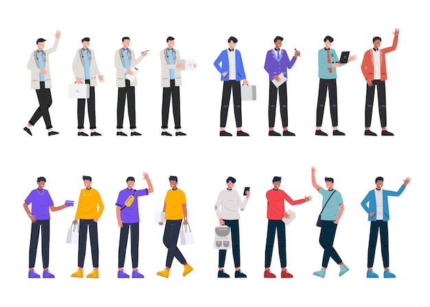 Una varietà di pacchetti di lavoro per ospitare lavori di illustrazione come medico, uomo d'affari, adolescenti, shopping, stile di vita,