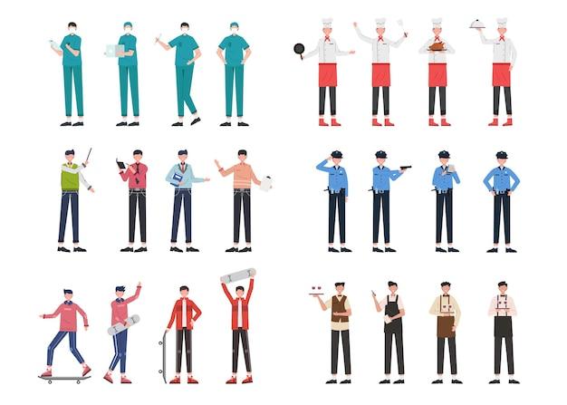 Una varietà di pacchetti di lavoro per ospitare lavori di illustrazione come dottore, chef, docente, polizia, sportivo, cameriere