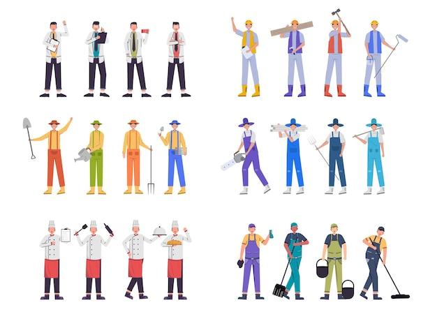 Una varietà di pacchetti di lavoro per ospitare lavori di illustrazione come medico, contadino, chef, operaio edile, personale delle pulizie, set di caratteri, pacchetto di 24 pose