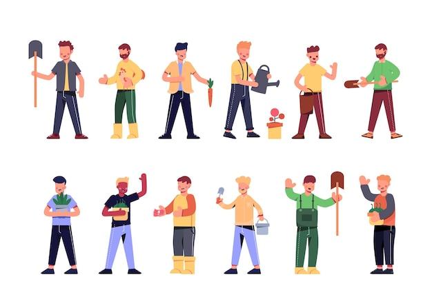 Una varietà di pacchetti di lavoro per ospitare lavori di illustrazione come agricoltori, lavoratori, cacciatori di tesori, commercianti, abitanti del villaggio. set di caratteri, pacchetto di 12 pose