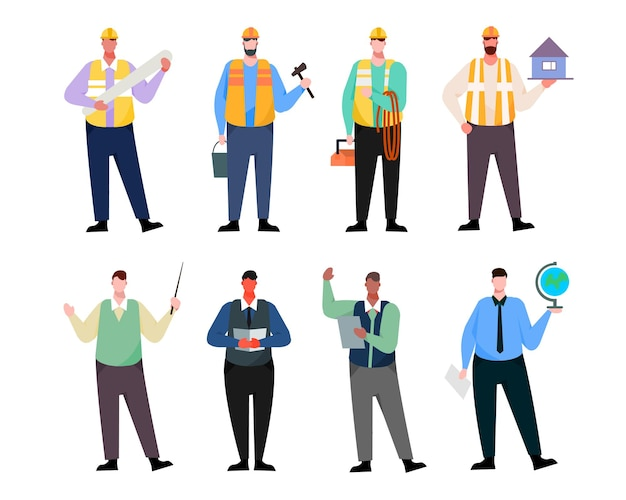 Una varietà di pacchetti di lavoro per ospitare lavori di illustrazione come operatore, personale d'ufficio, docente, insegnante