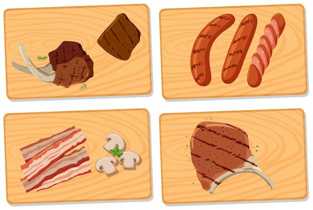 Varietà di carne su taglieri