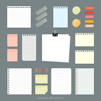 Varietà di note di carta Vettore Premium