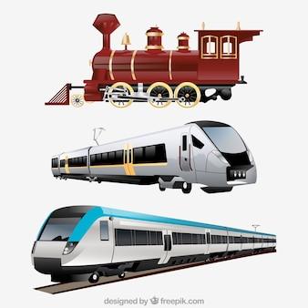 Varietà di treni realistici Vettore Premium
