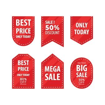 Varietà di raccolta di etichette di vendita per cartellino del prezzo o etichetta sconto