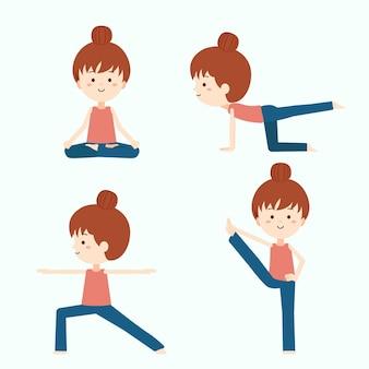 Varietà di raccolta di posture sportive.