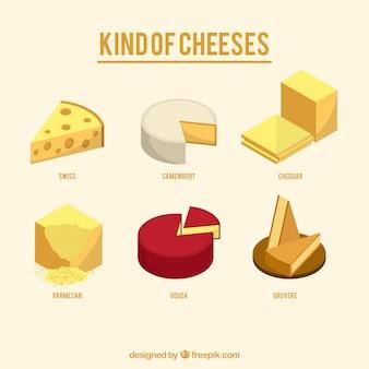 Varietà di formaggi saporiti Vettore Premium