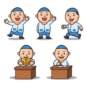 Varie attività della serie di caratteri dei bambini della scuola islamica del ragazzo