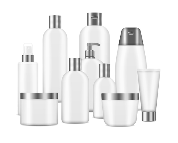 Vari modelli di contenitori vuoti, inclusi barattolo, flacone con pompa, tubo crema su sfondo bianco. set di bottiglie pulite bianche cosmetiche mockup realistico. pacchetto cosmetico realistico. .