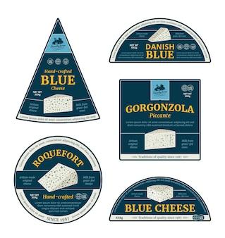 Varie etichette di formaggio blu ed elementi di design del packaging