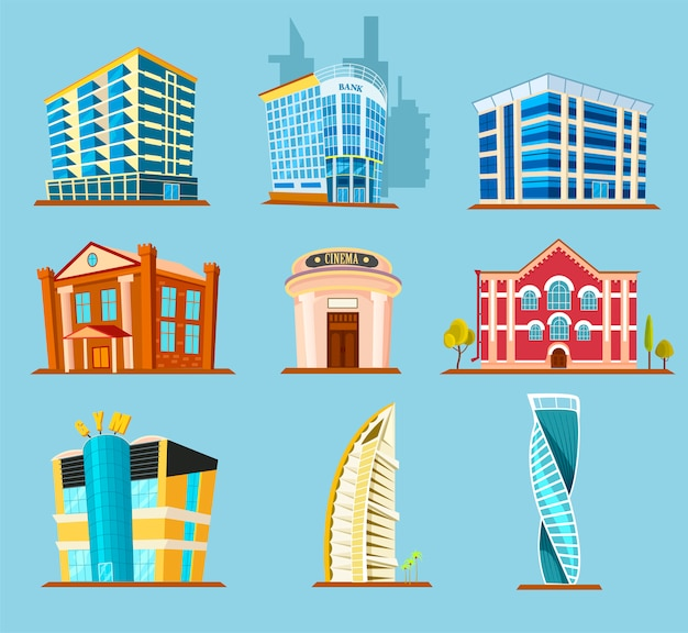 Icona di vettore di varie costruzioni di edifici