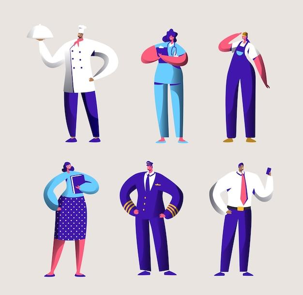 Lavoratore di carriera vario impostato per banner di festa del lavoro.