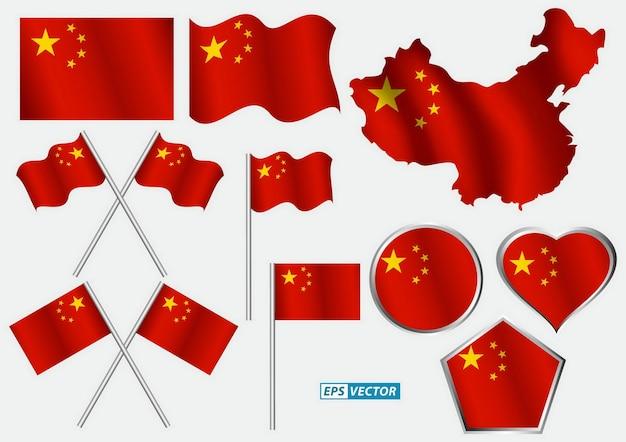 Vari tipi di bandiera cinese o clip art o decorazione della bandiera cinese
