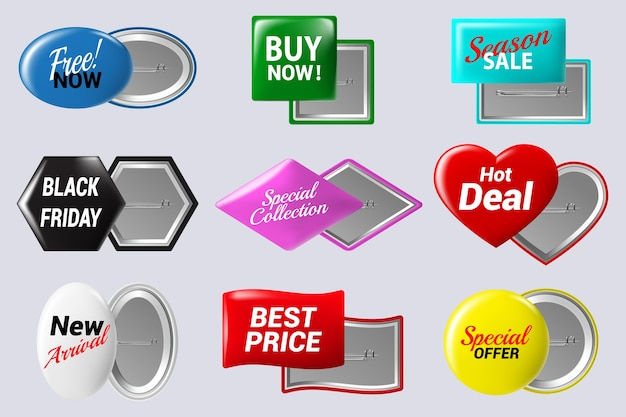Vari modelli di badge colorati