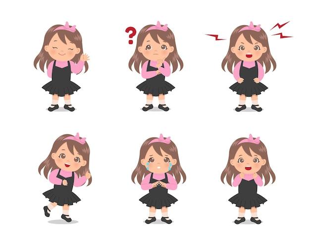 Varie espressioni di avatar femminile carino impostato. design piatto.