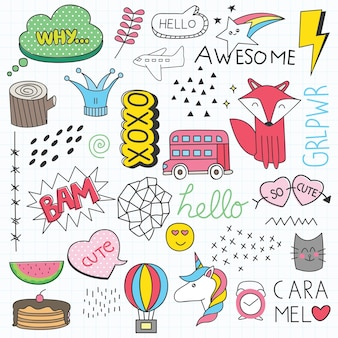Illustrazione vettoriale set vari doodle