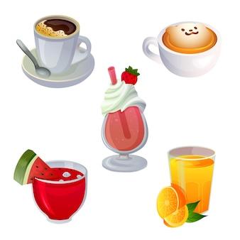 Vari set di giochi per la colazione con bevande