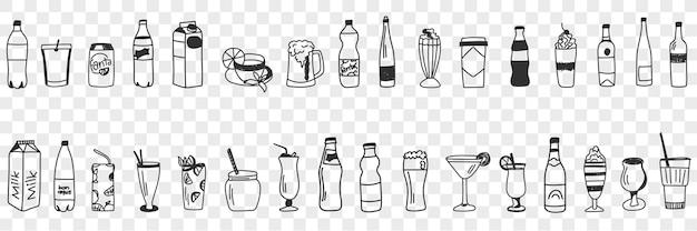 Insieme di doodle di bevande varie