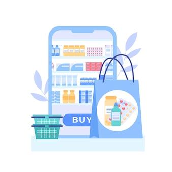 Vari farmaci e farmaci nel negozio di droga della farmacia online sull'app mobile Vettore Premium