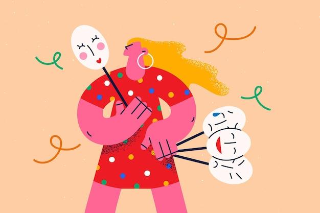 Varie emozioni e concetto di emoji per la salute mentale