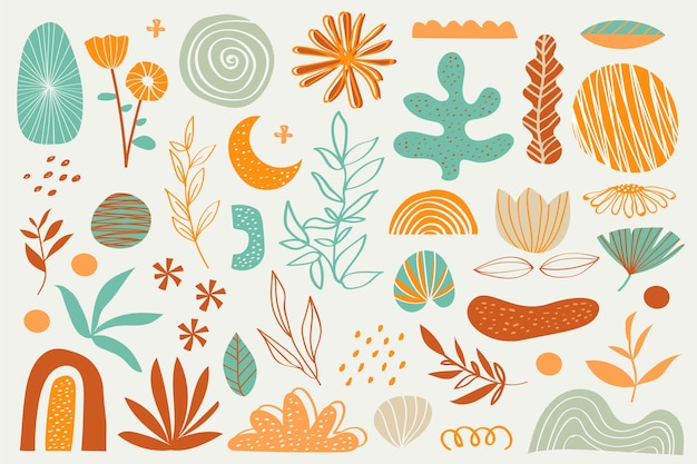 Fondo di forme organiche dei vari fiori e piante