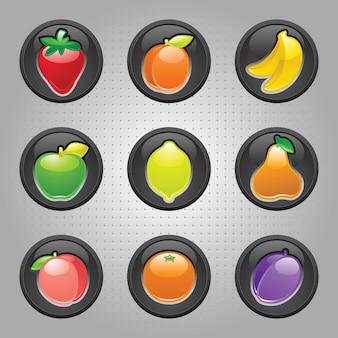 Insieme dell'illustrazione di vari pulsanti di frutta