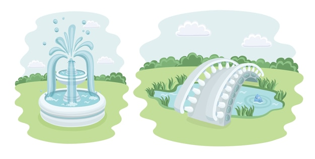 Insieme di elementi isometrici di vari giardini parco paesaggio