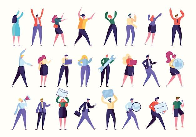 Vari team di dipendenti di gesto stanno insieme insieme. lavoro di affari isolato. aiuto manager, risorse umane trovato nuovo lavoratore, persone con computer, affari aziendali. raccolta piana dell'illustrazione di vettore del fumetto