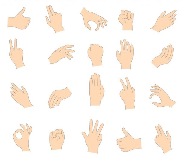 Vari gesti delle mani umane isolati su uno sfondo bianco. set di palme che mostrano vari gesti. palmo che indica qualcosa. illustrazione delle mani femminili e maschili.
