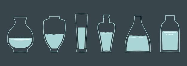 Vari vasi di vetro varie forme disegnati a mano