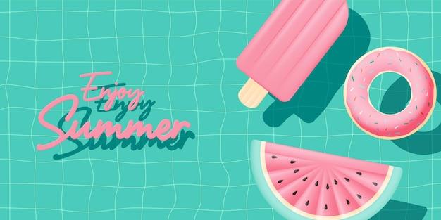Vari gonfiabili galleggianti in piscina con stile 3d e paper art e colori pastello