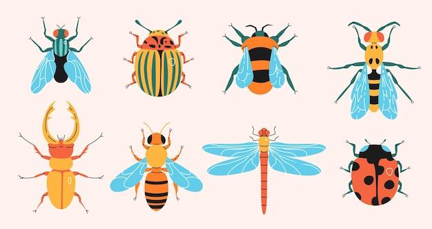 Vari insetti incastonati in un design piatto