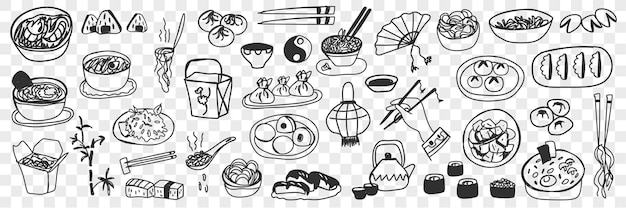 Vari piatti cinesi giapponesi doodle insieme. collezione di sushi maki disegnati a mano, involtini primavera, riso al vapore e gnocchi come cucina nazionale isolata.
