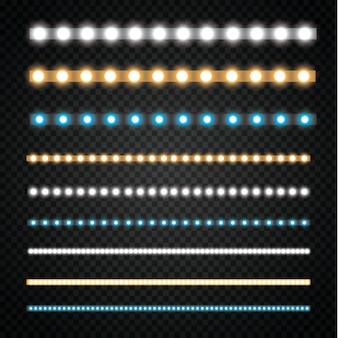 Varie strisce a led su uno sfondo nero e trasparente, ghirlande a led luminose