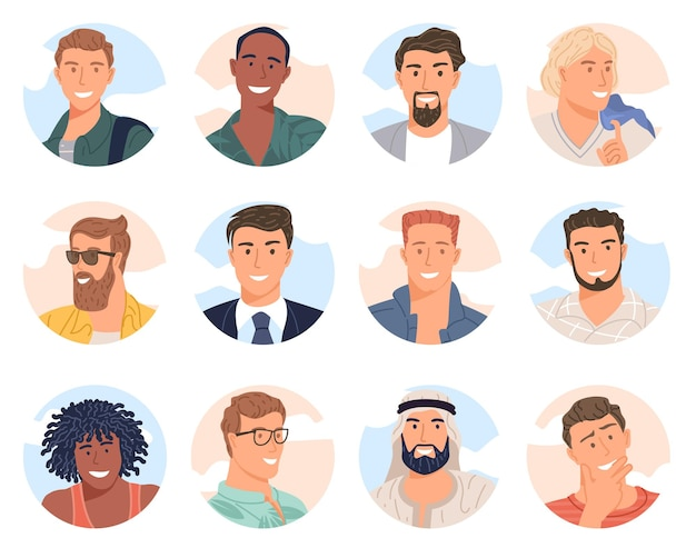 Vari uomini avatar di diversi team di business design piatto vettore raccolta. gruppo di colleghi sorridenti gioiosi.