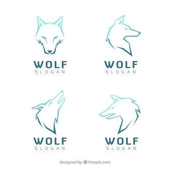 Vari loghi moderni di lupi