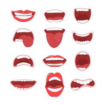 Varie opzioni di bocca aperta con labbra, lingua e denti