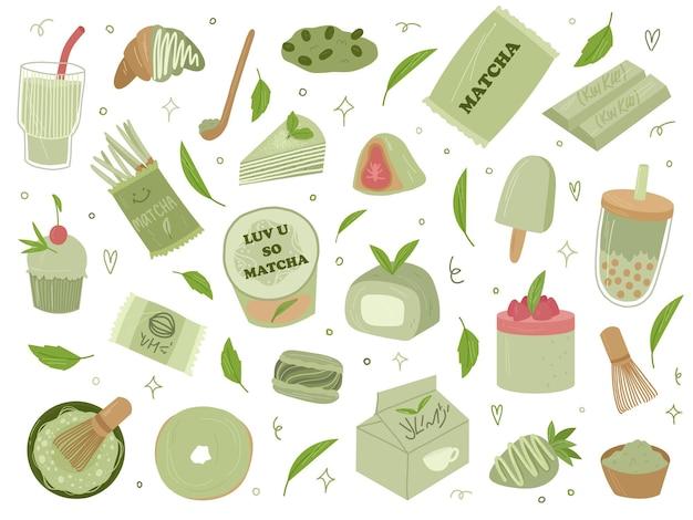 Vari elementi di design del tè matcha biologico. matcha latte, cupcake, roll, polvere, amaretti, tè. illustrazione disegnata a mano del fumetto di vettore. tutti gli elementi sono isolati.